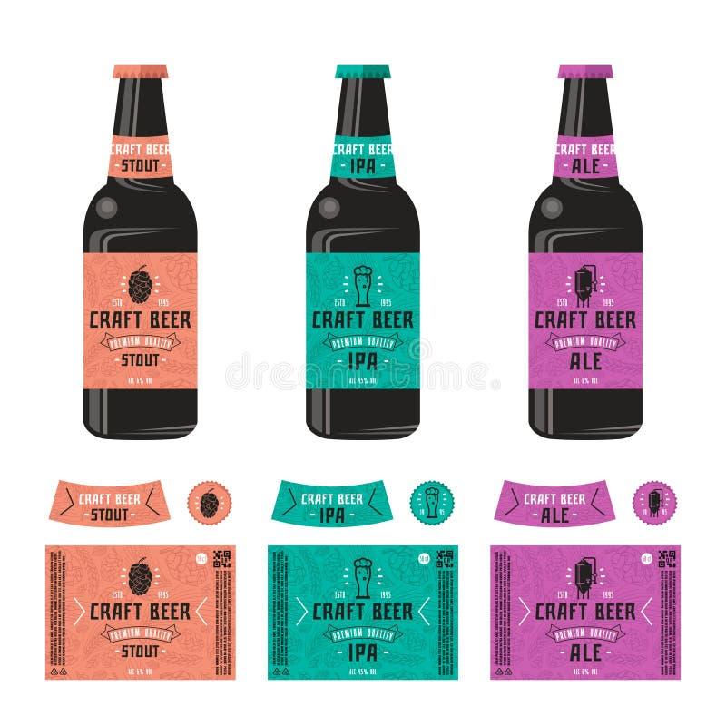Set szablon etykietka dla rzemiosła piwa royalty ilustracja