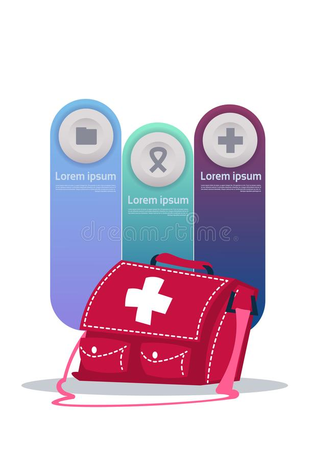 Set szablonu Infographic elementy W Medycznej Pudełkowatej skrzynce z medycyny opieki zdrowotnej pojęciem ilustracji