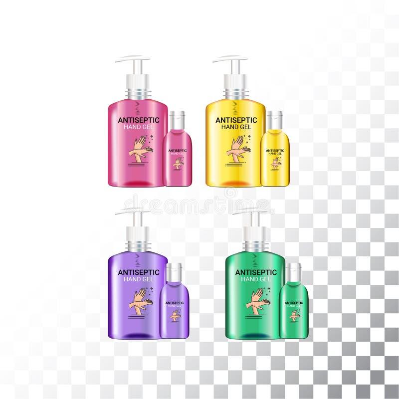 Set szablonu realistyczny pakunek dla butelek z pompową aptekarką Plastikowi zbiorniki z ręki gel prysznic lub ciekłym mydłem royalty ilustracja