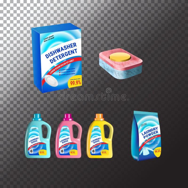 Set szablonu realistyczny pakunek dla butelek z pralni i zmywarka do naczyń detergentem Plastikowi zbiorniki, pakunek i pastylki, royalty ilustracja