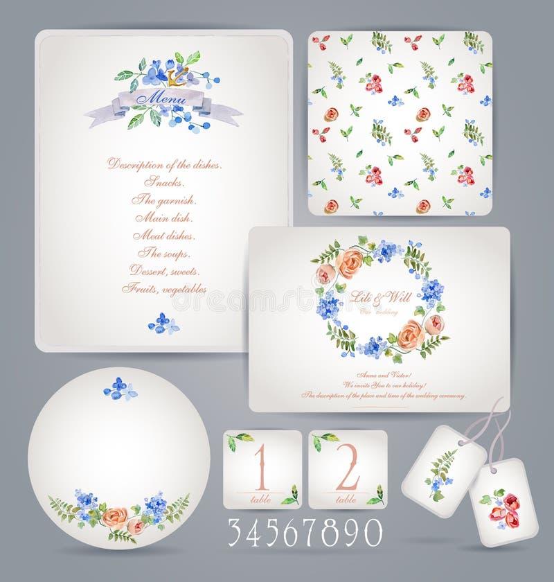Set szablony dla świętowania, poślubia ilustracja wektor