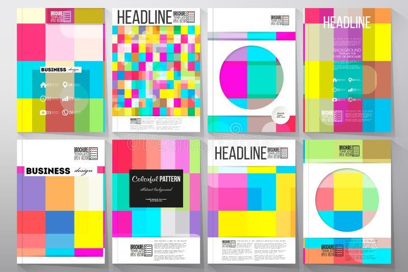 Set szablony dla broszurki, ulotki lub broszury, Abstrakcjonistyczny kolorowy biznesowy tło, nowożytna elegancka wektorowa tekstu royalty ilustracja