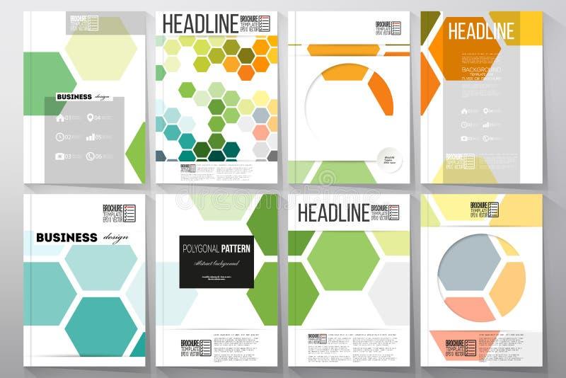 Set szablony dla broszurki, ulotki lub broszury, Abstrakcjonistyczny kolorowy biznesowy tło, nowożytny elegancki heksagonalny wek ilustracja wektor