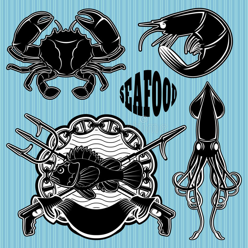 Set szablony dla emblematów tematu owoce morza royalty ilustracja