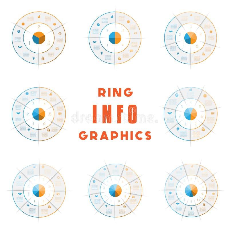 Set szablony, pierścionek od barwionych linii dla infographic, może używać dla obieg układu, diagram, sieć projekt, 3,4,5,6,7,8,9 ilustracji