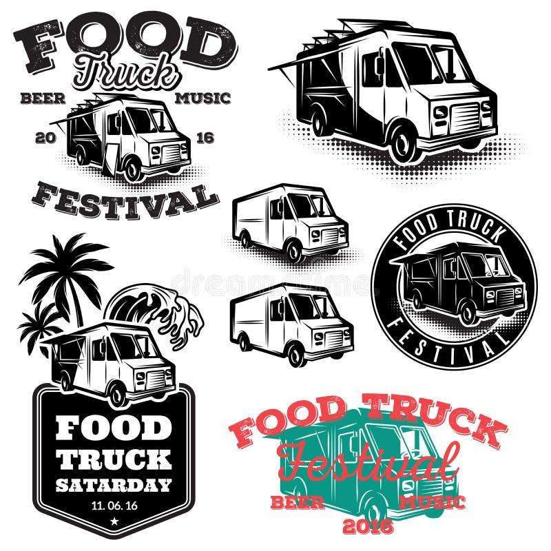 Set szablony, projektów elementy, roczników stylowi emblematy dla jedzenia przewozi samochodem royalty ilustracja