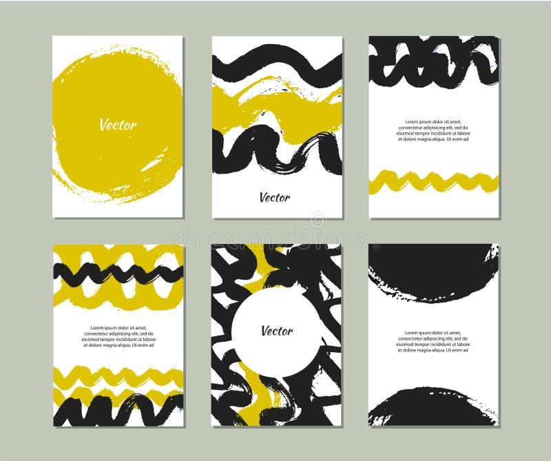 Set szablony z ręki rysować teksturami robić z atramentem Kolekcja z wektorowymi grunge sztandarami ilustracja wektor