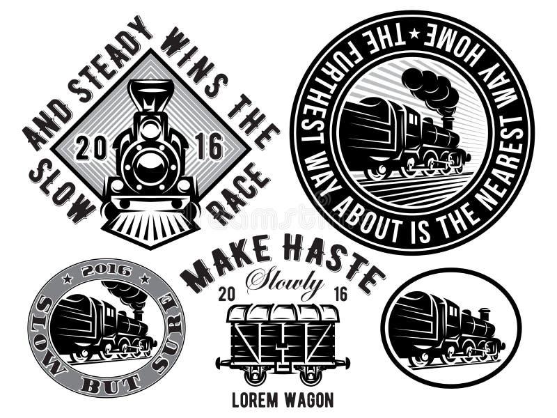 Set szablony z retro lokomotywą, furgon, rocznika pociąg, logotyp, ilustracja temat linia kolejowa royalty ilustracja