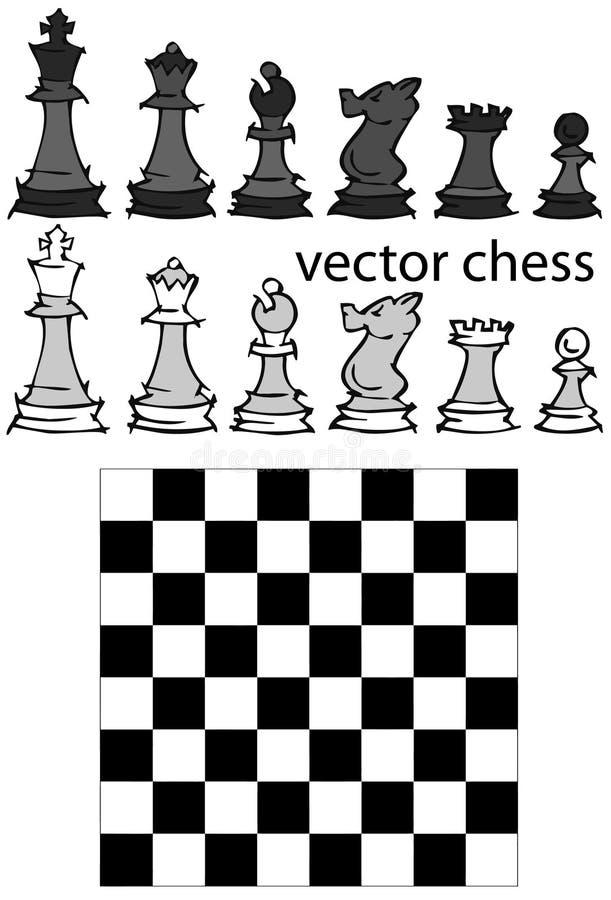 Set: Szachowa gra, kreskówka ilustracja wektor