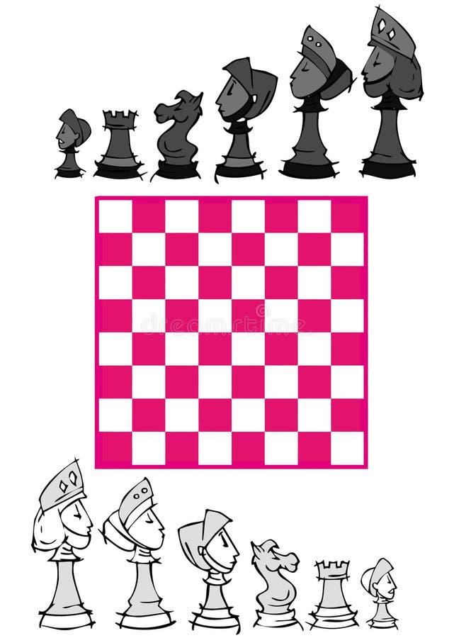 Set: Szachowa gra, kreskówka ilustracji