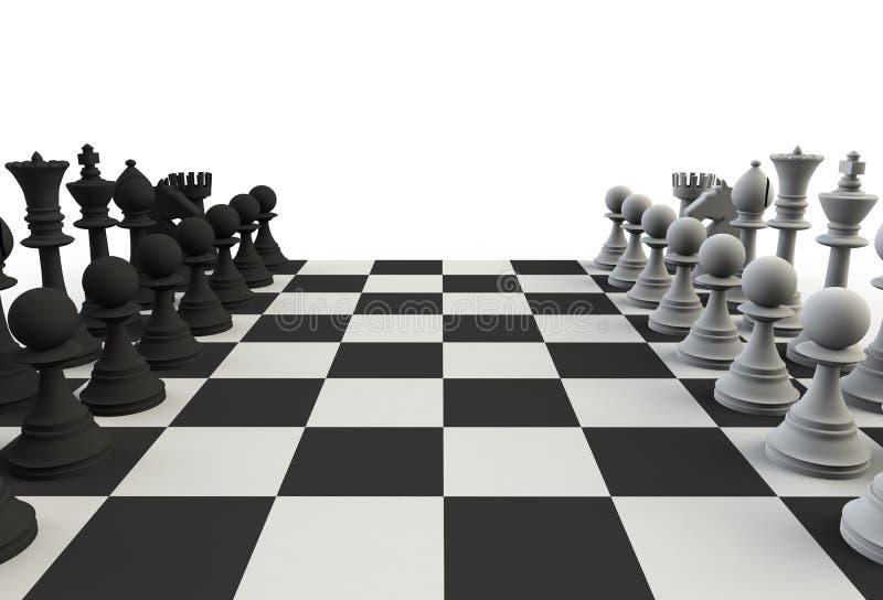 Set szachowe postacie na bawić się desce na białym tle zdjęcie royalty free