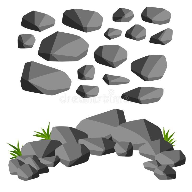 Set szarość kamienie z zieloną trawą kreskówki dowódcy pistolet żołnierza jego ilustracyjny stopwatch ilustracja wektor