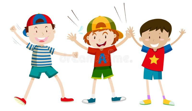 Set szczęśliwa chłopiec ilustracja wektor