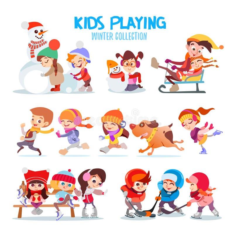 Set szczęśliwa kreskówka żartuje bawić się outdoors w zimie ilustracja wektor