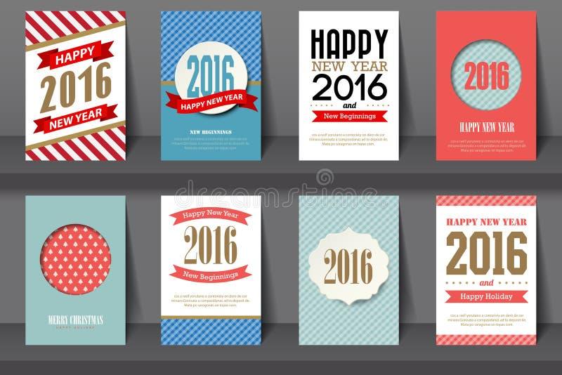 Set Szczęśliwe nowy rok broszurki w rocznika stylu ilustracja wektor