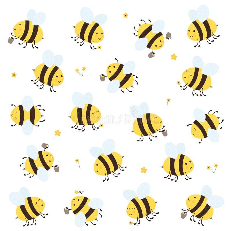 Set Szczęśliwe pszczoły royalty ilustracja