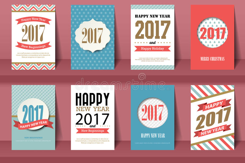 Set Szczęśliwego nowego roku i Wesoło bożych narodzeń broszurki ilustracja wektor