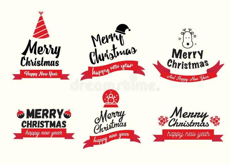 Set Szczęśliwego nowego roku i Wesoło bożych narodzeń broszurki w roczniku royalty ilustracja