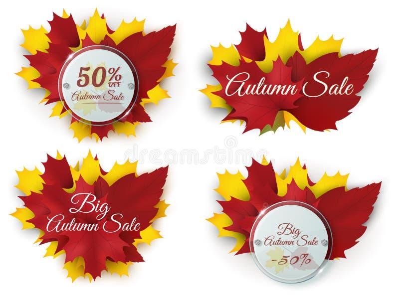 Set Szczęśliwi dziękczynienie sztandary z jesień liśćmi i okręgu szkła odznakami wektor royalty ilustracja