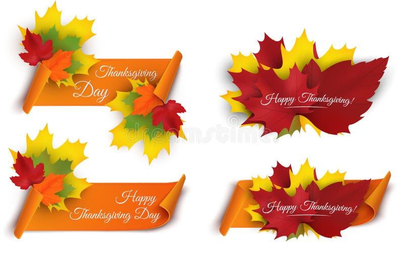 Set Szczęśliwi dziękczynienie sztandary z kolorowymi jesień liśćmi i papierowym ślimacznica faborkiem wektor royalty ilustracja