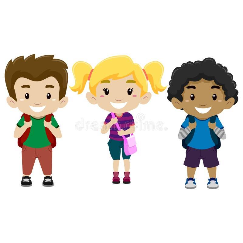 Set Szczęśliwi dzieciaki jako uczeń ilustracja wektor