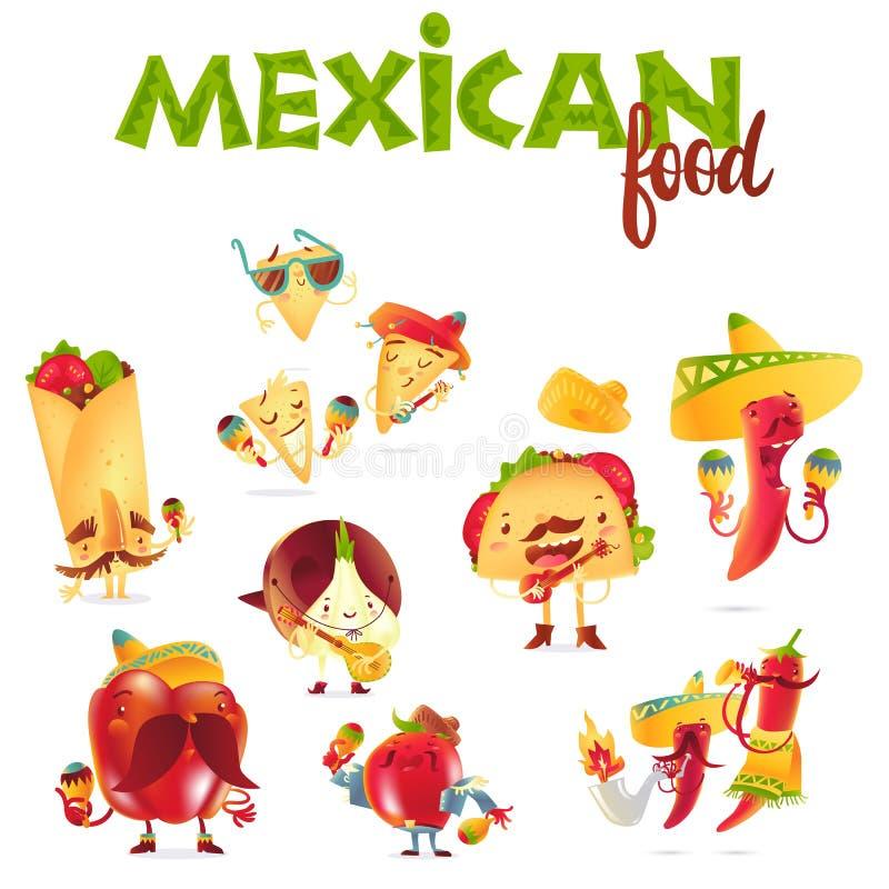 Set szczęśliwi Meksykańscy karmowi charaktery bawić się instrumenty muzycznych ilustracja wektor