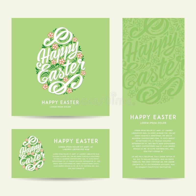 Set Szczęśliwi Wielkanocni kartka z pozdrowieniami, rysunku literowanie royalty ilustracja