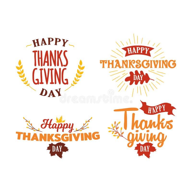 Set szczęśliwy dziękczynienie dnia tekst z jesień spadkiem kapuje drzewną ilustrację Logo, odznaka, majcher, sztandar, ikona, kar royalty ilustracja