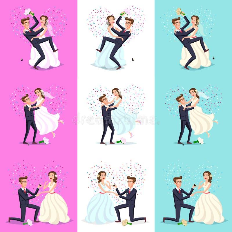 Set Szczęśliwy pary odświętności małżeństwo, taniec, całowanie, przytulenie, mienie each inny w rękach, cięcie tort, jadący rower royalty ilustracja