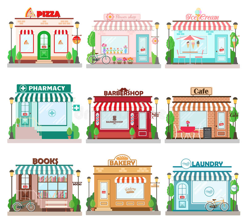 Set szczegółowi płascy projekta miasta fasady budynki Restauracj i sklepów fasady ikony royalty ilustracja