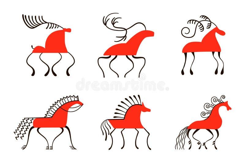 Set sześć czerwonych koni Krajowi północni obrazy Ludowi rękodzieła Czarowni oryginałów ornamenty prostota ilustracja wektor