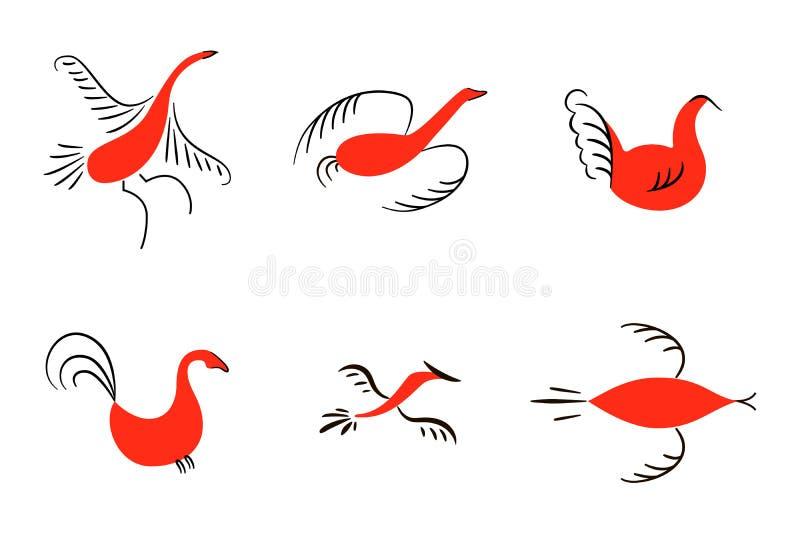 Set sześć czerwonych ptaków Krajowi północni obrazy Ludowi rękodzieła Czarowni oryginałów ornamenty prostota Czerwona płaska kacz ilustracji