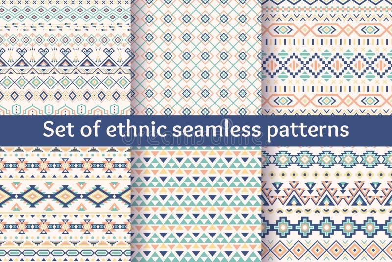 Set sześć etnicznych bezszwowych wzorów obrazy royalty free