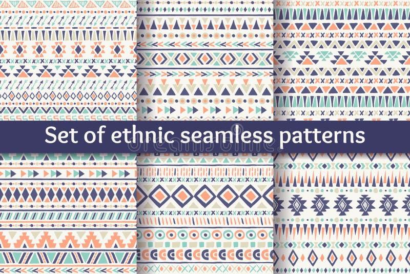 Set sześć etnicznych bezszwowych wzorów zdjęcie royalty free
