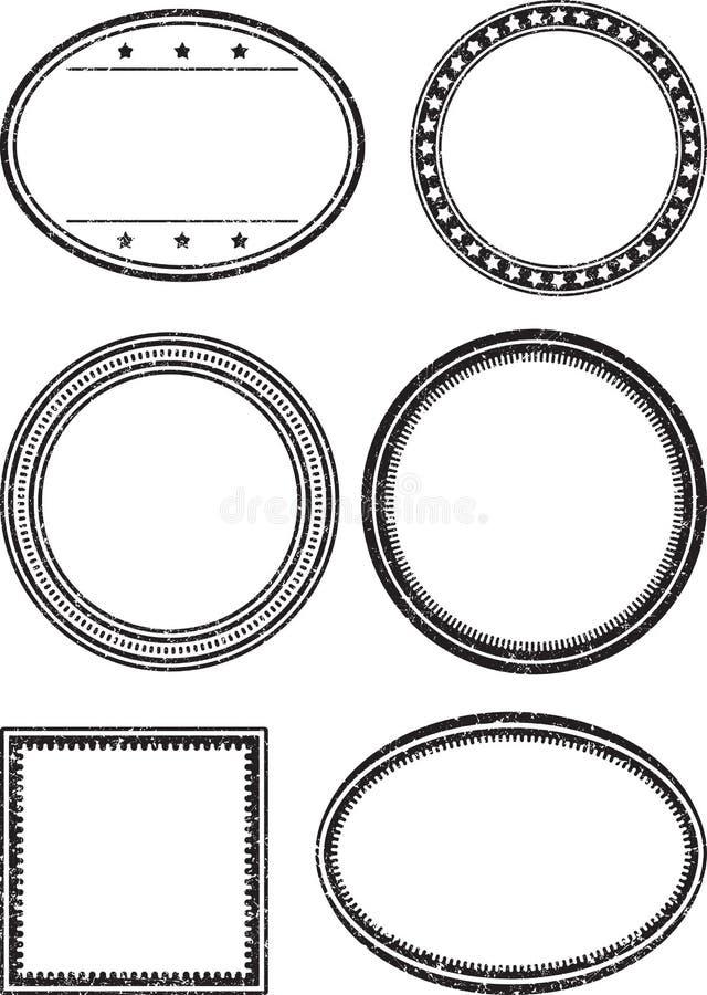 Set sześć grunge wektorowych szablonów dla pieczątek ilustracji