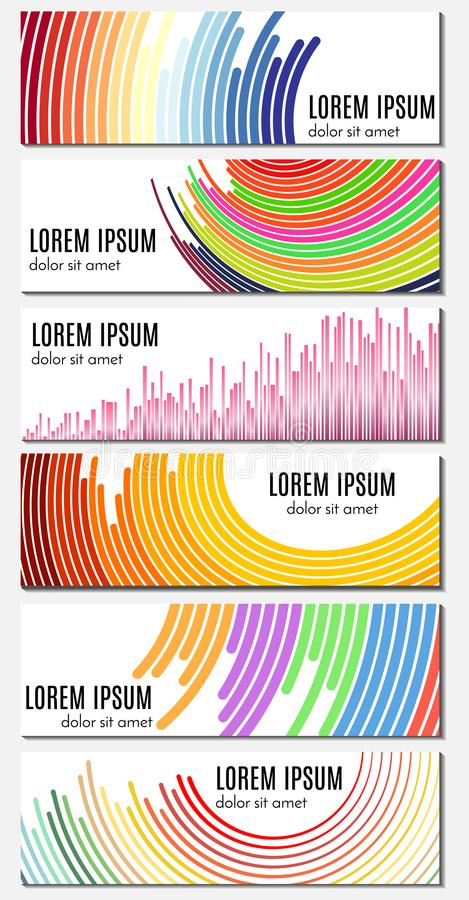 Set sześć kolorowych abstrakcjonistycznych chodnikowów sztandarów z wyginać się liniami i miejsce dla teksta royalty ilustracja