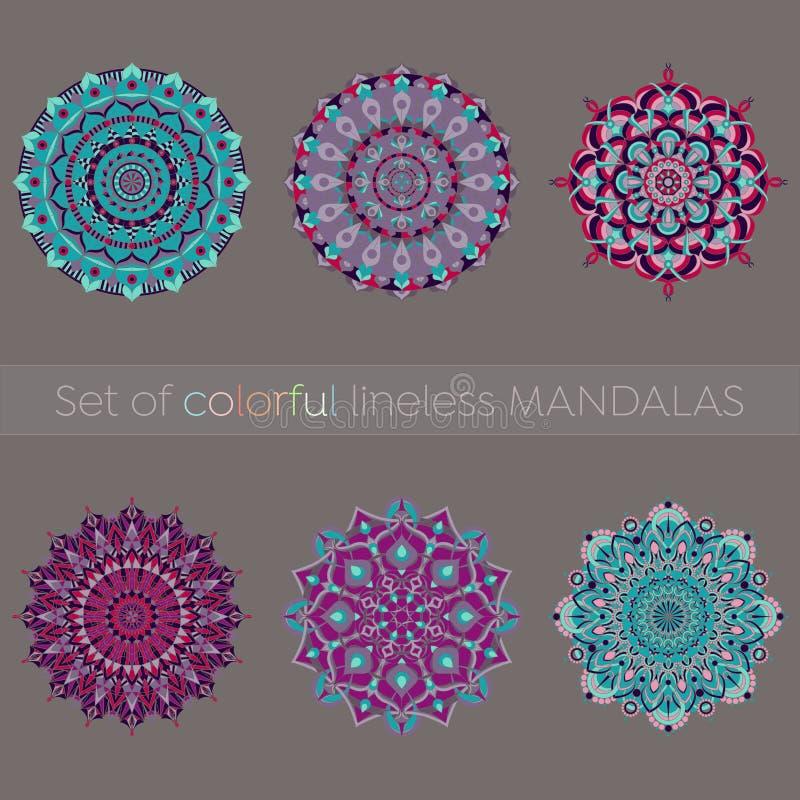 Set sześć kolorowych mandalas royalty ilustracja