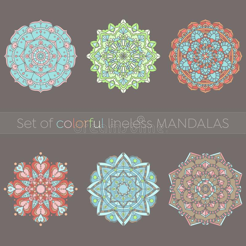 Set sześć kolorowych mandalas ilustracja wektor