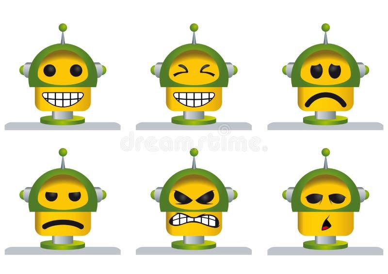 Set sześć koloru żółtego i zieleni robota twarzy, śmiający się, smutny, gniewny i zmęczony, ilustracja wektor