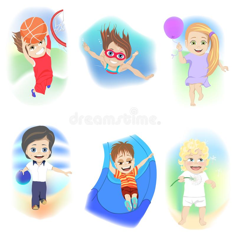 Set sześć młodych dzieci cieszy się różnorodność różne rekreacyjne aktywność rzuca kulą, pływa, koszykówka ilustracji