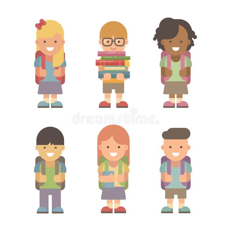 Set sześć mieszkań szkolnych charakterów royalty ilustracja