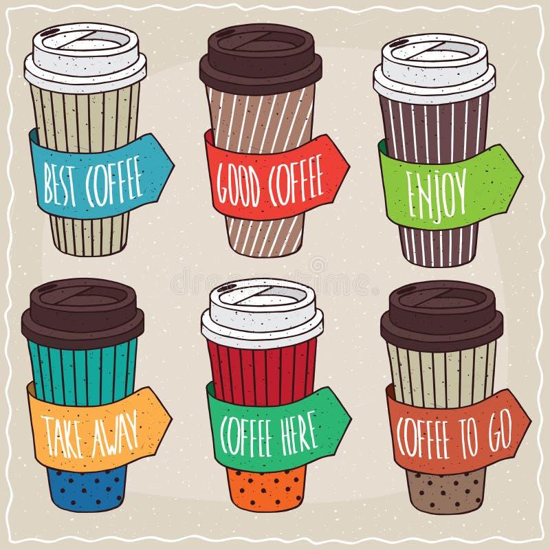 Set sześć różnych modnych papierowych filiżanek kawy ilustracja wektor