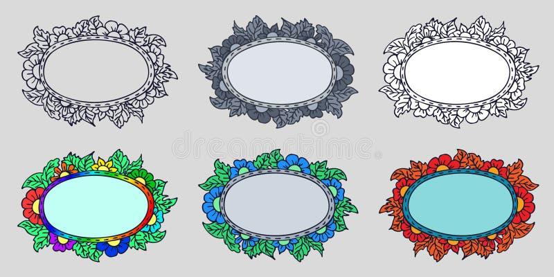 Set sześć ręki rysujących ram z kwiatami i liśćmi w różnych wersjach: konturowy tylko, biała pełnia, i cztery barwiliśmy Odosobni ilustracji