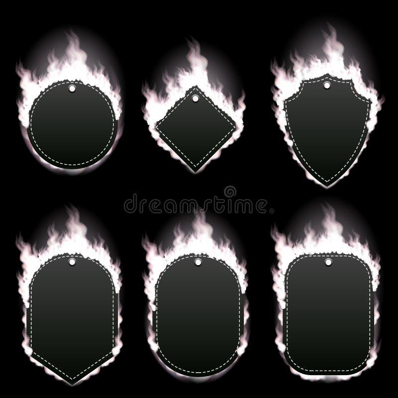 Set sześć ram otaczających z białym płomieniem ilustracji