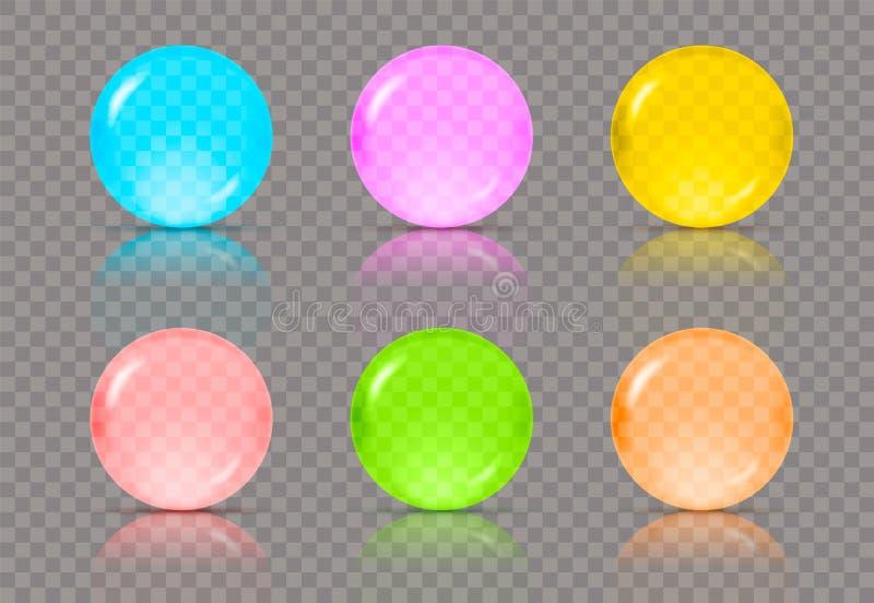 Set sześć realistyczni przejrzyści piłek w różnych kolorach lub sfery błękit, menchie, kolor żółty, czerwień, zieleń i pomarańcze ilustracji