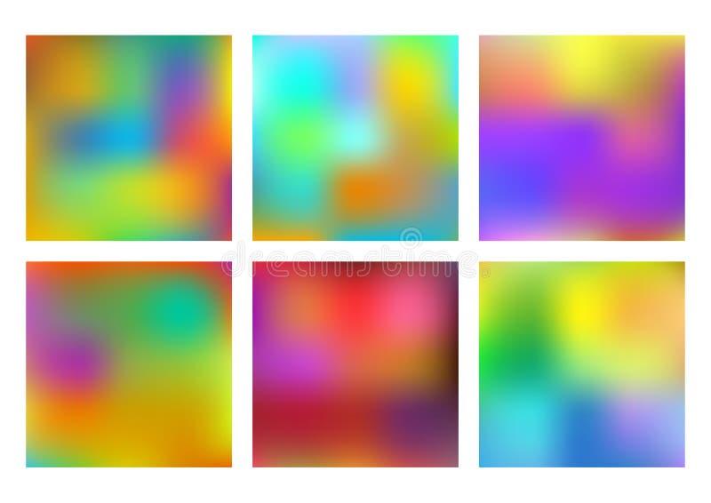 Set sześć stubarwnych wektorowych tło robić gradientową siatką Plama skutek dla projekta, drukowi szablony, strony internetowe royalty ilustracja