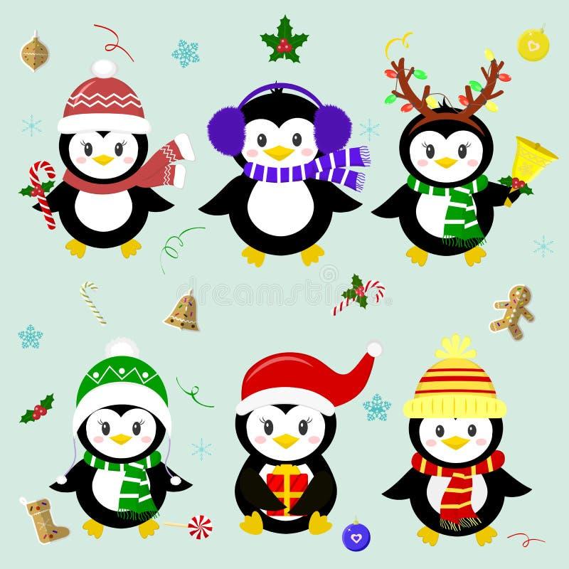 Set sześć szczęsliwych Bożenarodzeniowych pingwinów charakterów w różnych kapeluszach i akcesoriach Świętuje nowego roku i bożych ilustracji