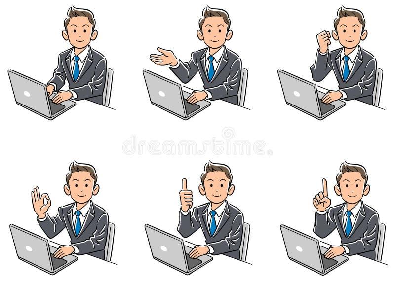 Set sześć typów biznesowy mężczyzna który obraca jego twarz przód podczas gdy działający komputer osobistego royalty ilustracja