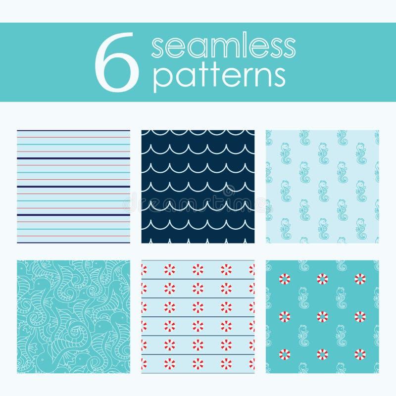 Set sześć wektorowych bezszwowych wzorów z lifebuoy, falami, lampasami i seahorse, ilustracji