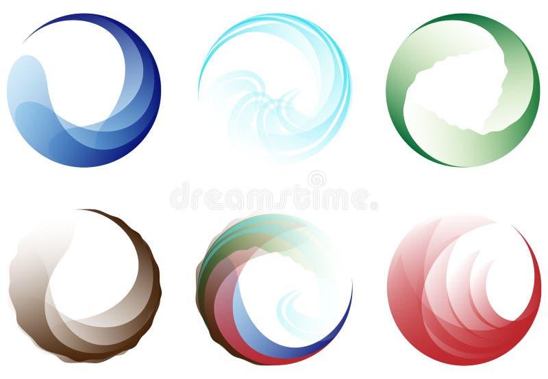Set sześć wektorowych elementów ikon fotografia stock